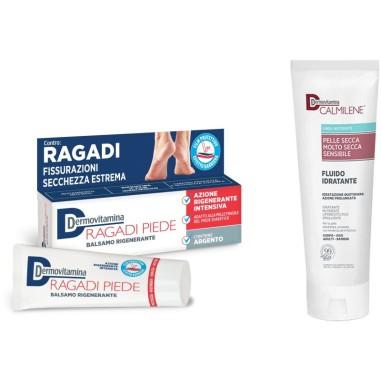 Calmilene Fluido Idratante + Balsamo Rigenerante Ragadi Piede Dermovitamina