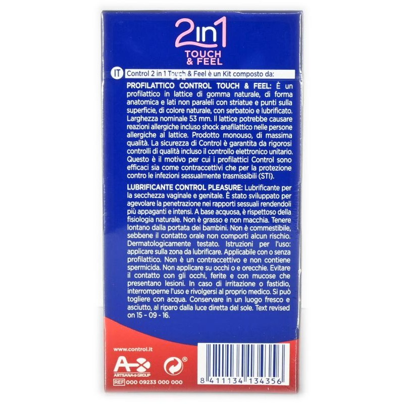 Preservativo e Gel 2 in 1 Touch & Feel Control