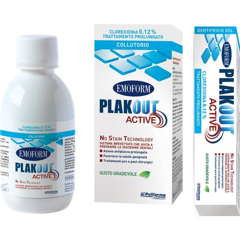 Collutorio 0,12% + Dentifricio 0,12% Emoform Plak Out Active